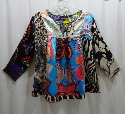 42905157752e3 SACRED THREADS BLUE Yellow Floral Womens Dress Size S/M - $17.99 ...