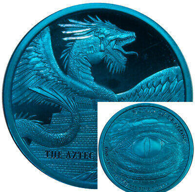 2018 The Aztec World Of Dragons Silver 1 Ounce Round 1oz Space Blue Edition