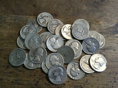 Lot Of 32 Silver Washington Quarters Mixed Dates All 1964 And Earlier