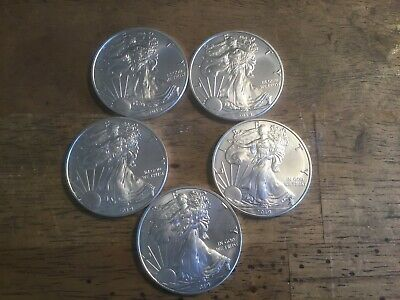 Lot Of 5 2019 Silver One Ounce Bu American Eagles