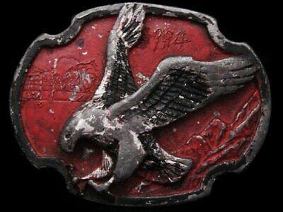 Jb23107 Vintage 1986 Siskiyou ***Flying Bald Eagle*** Pewter Belt Buckle