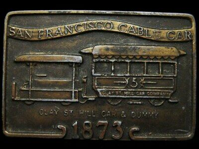 JA25128 VINTAGE 1970s **SAN FRANCISCO CABLE CAR** 1873 BRASSTONE BELT BUCKLE
