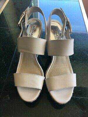 783a41c524f MICHAEL MICHAEL KORS White Leather Jodi Platform Sandals Sz 9 ...
