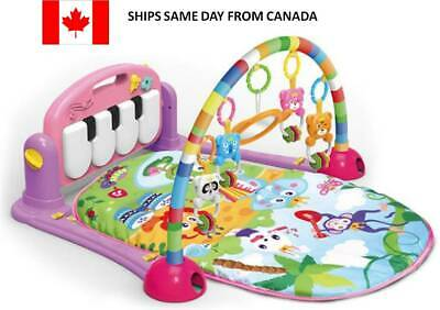 Kids Kick, Sit and Play Fitness Rack Piano Gym Mat Toy for Baby with Music