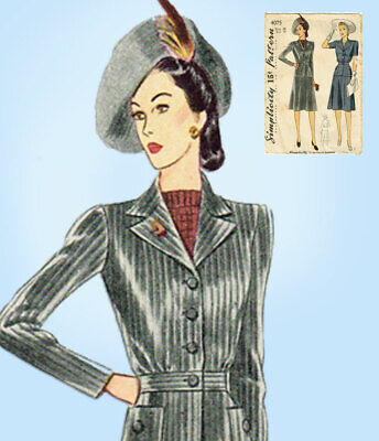 1940s Vintage Simplicity Sewing Pattern 4075 Misses WWII 2 PC Suit Size 34 Bust
