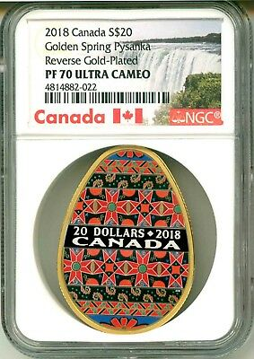 2018 Canada S$20 Golden Spring Pysanka Reverse Gold Plated NGC PF70 Ultra Cameo