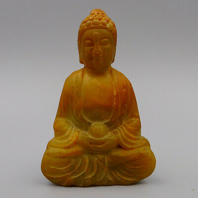 Pendant Crafts Collection Buddha Statue Chinese Natural Old Jade Hand Carved Art