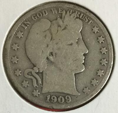 1909S US Barber SILVER Half Dollar! Good! Old US coin!