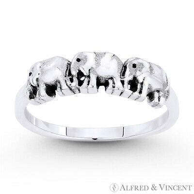 Three-Elephant Herd Family Animal Totem Charm Oxidized .925 Sterling Silver Ring