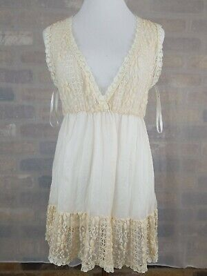 Ya Los Angeles Womens M Top Dress champagne white Sleeveless Lace frill Sheer