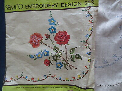 "Vintage Semco Craft Embroidery 213 Table Centre Unworked Roses 14"" X 20"""