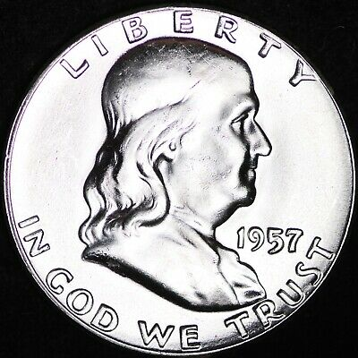 GEM UNCIRCULATED FBL 1957 Franklin Silver Half Dollar FREE SHIPPING