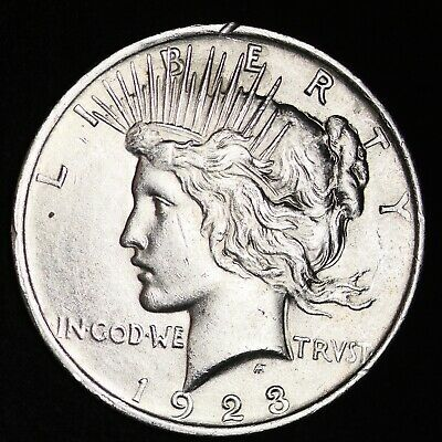 Uncirculated 1923 Peace Silver Dollar Free Shipping
