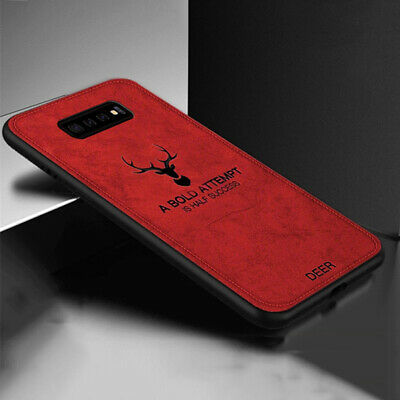 For Samsung Galaxy S10 Plus Shockproof Slim Fabric Soft TPU Back Case Cover Red