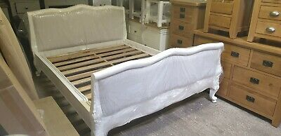 Distressed French Style Upholstered King Size Bed Delivery Avail