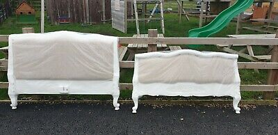 Distressed French Style Upholstered Double Bed Delivery Avail