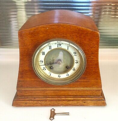 Vintage  'hac'  8 Day Striking Mantel Clock  - Working Order With Key