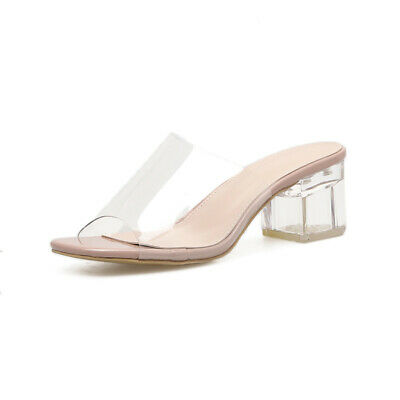 7da8c7c5e Transparent PVC Women Open Toe Clear Crystal 5.5CM Square Heels Slip On  Sandals