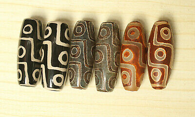 80g 6Pcs Banded Eyed Nepal Indo Tibet Agate Old Bead Amulet for Gift