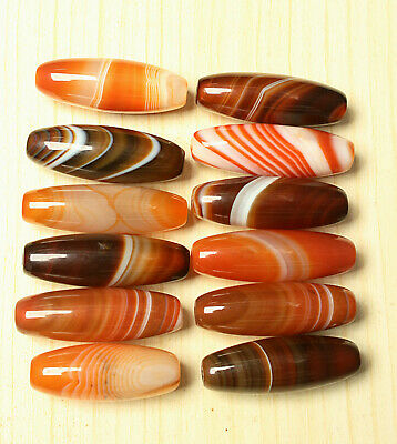 127g 12Pcs Banded Eyed Nepal Indo Tibet Agate Old Bead Amulet for Gift