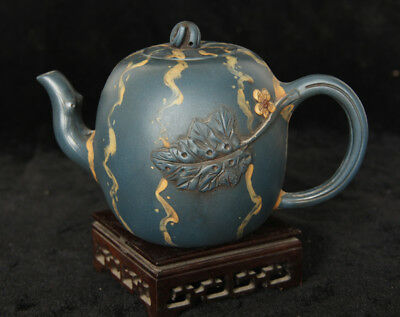 Yixing teapot hand-carved maple leaf craft pot