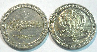 Two Older One Dollar Slot Tokens Kewadin, Sault Ste. Marie & Indiana Gaming Co.
