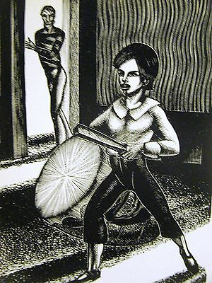 Lynd Ward 1930 SLAVE TRADER 'S SON BEATING AFRICAN DRUM Art Deco Print Matted