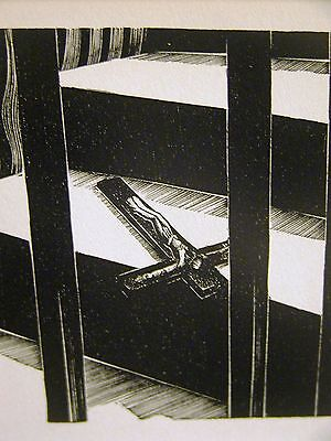 Lynd Ward 1930 ABANDONMENT of RELIGION DISCARDED CROSS Art Deco Print Matted