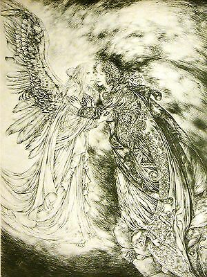 Sulamith Wulfing BEAUTIFUL GIRL w ANGEL in HEAVEN 1975 Vintage Art Print Matted