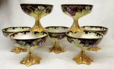 7 ANTIQUE HAVILAND LIMOGES Hand Painted FOOTED PUNCH CUP GOBLETS w GRAPES & GOLD