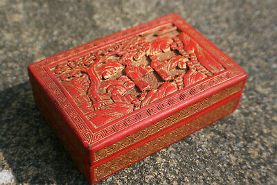 Antique Chinese Wooden Lacquer Carved Picture & Gilt Painted Small Trinket Box