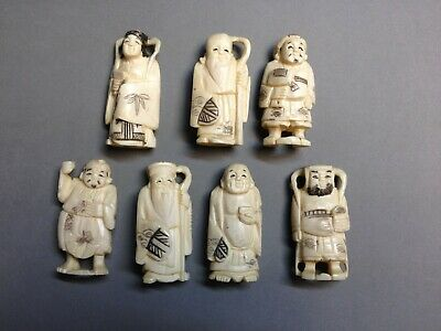 belle collection de 7 anciennes sculptures Japon , netsuke okimono ...