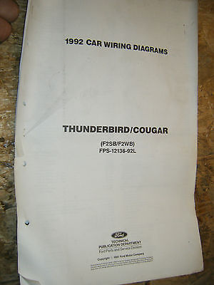 1992 ford thunderbird mercury cougar factory wiring diagrams sheets service