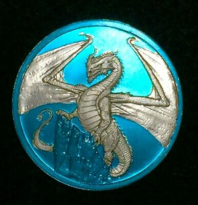 2018 The Welsh World Of Dragons Silver 1 Ounce Round 1oz Space Blue Edition