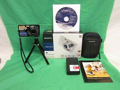 Sony Cyber-shot DSC-WX1 10.2MP Digital Camera - Black - w/ Tripod and Case