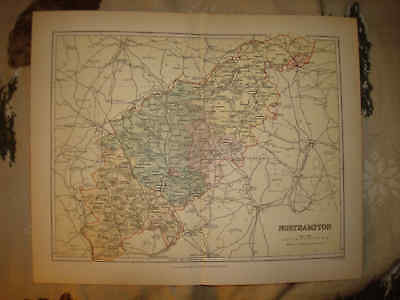 Antique 1870 Northampton County England Map Peterborough Superb Detailed Fine Nr