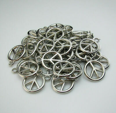 Acrylic Pendant signs Peace Silver pcs Anti-war Loose 50 Round Findings Hollow