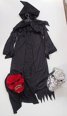 Grim Reaper Fancy Dress Costume Age 9-11 & 2 Masks Skeleton Halloween Bundle
