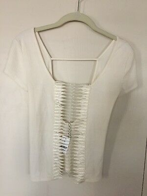 fb98a866325 Emma & Sam Short Sleeve Sexy Top New Cream Crochet Front Detail Sz S Small  NWT