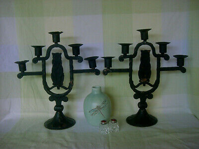 Rare Antique Arts & Crafts Cat Candlesticks ~ Germany ~ Hugo Berger Goberg Era