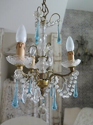 Antique FRENCH Aqua Crystal Beaded Chandelier Kristall Kronleuchter SHABBY Chic