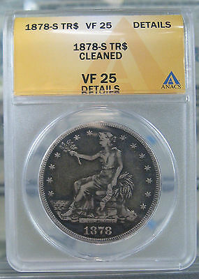 1878-S T$1 Silver Trade Dollar VF25 Details ANACS