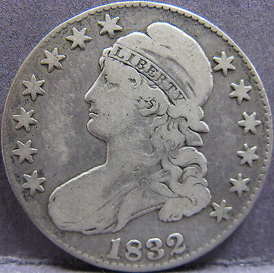 1832 50¢ Capped Bust Half Dollar, Overton 103 Small Letters Reverse. R1. Fine.
