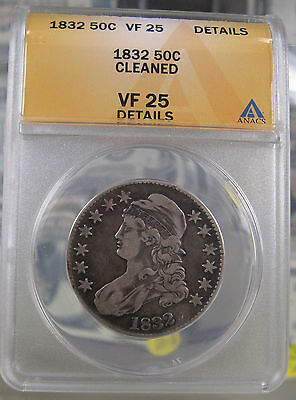 1832 Capped Bust Half Dollar ANACS VF25 Details Cleaned