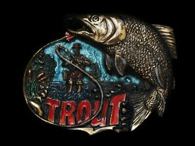Nd03124 Vintage 1982 **Trout Fishing** (Fly Fisherman) Belt Buckle