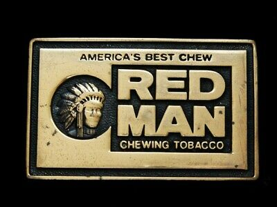ND17158 VINTAGE 1970s **RED MAN CHEWING TOBACCO** SOLID BRASS BELT BUCKLE