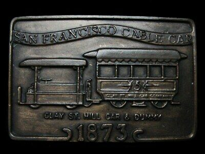 KK21143 VINTAGE 1970s ***SAN FRANCISCO CABLE CAR - 1873*** BRASSTONE BELT BUCKLE
