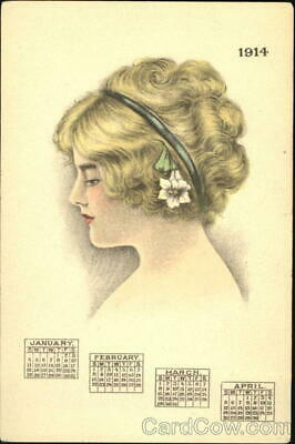 New Year 1914 Beautiful Lady Antique Postcard Vintage Post Card