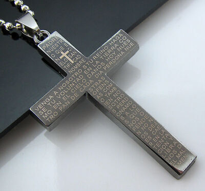 Unisex's Necklace Cross Stainless Steel Mens Gift Men's New Pendant Cool Chain