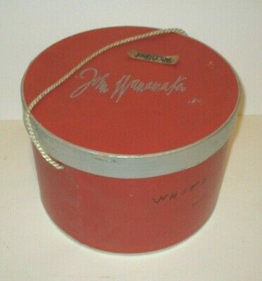 Vintage John Wanamaker Philadelphia Department Store Retail Red & Silver Hat Box
